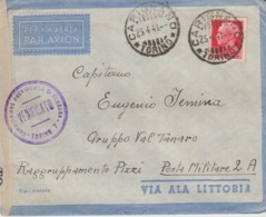 503 -  - STORIA POSTALE - BUSTA - VIA AEREA - ALA LITTORIA - DA CARIGNANO A POSTA MILITARE 2 A. - 1900-44 Vittorio Emanuele III