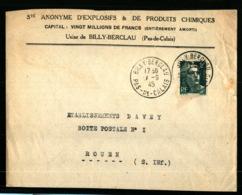 BILLY BERCLAU - 1945 - Sté ANONYME D'EXPLOSIFS & ET DE PRODUITS CHIMIQUES - PAS DE CALAIS - Marcofilie (Brieven)