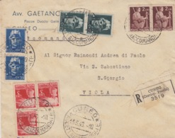 504 -  - STORIA POSTALE - BUSTA - RACCOMANDATA (CORRISP.PACCHI) - DA CUNEO A VIOLA - 1900-44 Vittorio Emanuele III