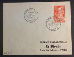 39- Abbaye De Sainte Croix 926 FDC Premier Jour Poitiers 21/6/1952 Lettre - FDC