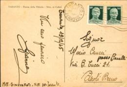 1945- Cartolina Taranto Piazza Della Vittoria Monumento Ai Caduti Affrancata Con Due 60c. Imperiale Senza Fasci - Taranto
