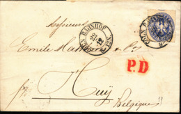 GERMANY PRUSSIA COVER FROM COLN 22.12.1863 TO HUY BELGIUM - Preussen