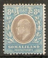 SOMALILAND 1904 8a SG 39 WATERMARK CROWN CA MOUNTED MINT Cat £11 - Somaliland (Protectorate ...-1959)