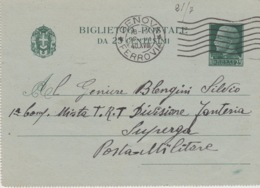 508 -  - STORIA POSTALE - BIGLIETTO POSTALE DA 25 CENTESIMI - GENOVA - 1900-44 Vittorio Emanuele III