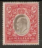 SOMALILAND 1904 5R SG 44 MOUNTED MINT Cat £70 - Somaliland (Protectorate ...-1959)