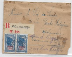 MADAGASCAR - 1943 - FRANCE LIBRE - ENVELOPPE ARTISANALE RECOMMANDEE De ANDILANATOBY => TANANARIVE - Madagascar (1889-1960)