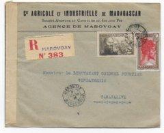 MADAGASCAR - 1941 - ENVELOPPE RECOMMANDEE AVEC CENSURE De MAROVOAY (ETIQUETTE VIOLETTE) => TANANARIVE - Lettres & Documents
