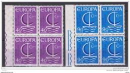 REPUBBLICA:  1966  EUROPA  -  S. CPL. 2  VAL. BL. 4  N. -  SASS. 1029/30 - 1966