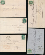 BELGIUM SELECTION OF COVERS COB 30 LIEGE ANDENNE ENGIS VERVIERS NIVELLES - 1869-1883 Leopold II