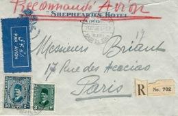 1936- Enveloppe RECC.par Avion De Qasr El Eini Affr. à 53 Mills Pour La France  -étiquette AVION Bilingue - Egypt