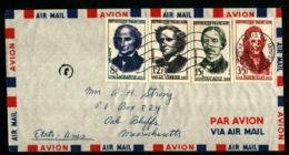 PARIS XIV - Série Complète 1146/1149 Lagrange Le Verrier Foucault Berthollet Pour Oak Bluffs - Etats-Unis - USA - 1958 - Marcofilie (Brieven)