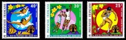 POLYNESIE 1975 - Yv. PA 93 94 Et 95 **   Cote= 24,00 EUR - Jeux Sportifs: Lancer, Volley-ball, Natation  ..Réf.POL24400 - Poste Aérienne