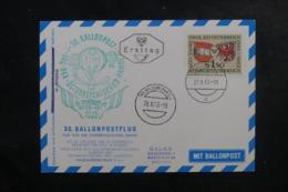AUTRICHE - Carte Par Ballon En 1963, Affranchissement Et Cachets Plaisants - L 44519 - Ballonpost