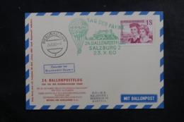 AUTRICHE - Carte Par Ballon En 1960, Affranchissement Et Cachets Plaisants - L 44525 - Ballonpost