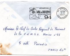 VAL De MARNE - Dépt N° 94  GENTILLY 1967 = FLAMME Codée à DROITE = SECAP  ' N° De CODE POSTAL / PENSEZ-Y ' - Postleitzahl