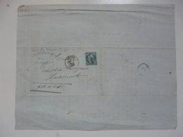 VIEUX PAPIERS - DOCUMENTS COMMERCIAUX AVEC TIMBRE (Cérès Dentelé 25 C Bleu - Oblitération Losange Gros Chiffre) - 1800 – 1899