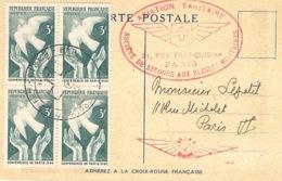 """1946- C P Croix Rouge  """" Aviation Sanitaire """"  Affr. Bloc De 4  N° 761 Conférence De Paris - Croce Rossa"""
