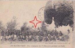 ANTIBES. Une Compagnie Du 7ème Chasseurs Alpins Pendant Une Halte. En Manoeuvres. - Antibes