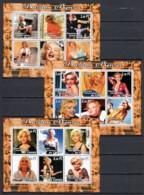 Congo 2001 - 3 MNH Sheets MARILYN MONROE - Actors