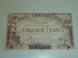 BILLET - EPARGNE OBLIGATIONS PRIME - CINQUANTE FRANCS - VALEURS FRANCAISES D'ETAT CLERMONT-FERRAND (C.N) - Andere