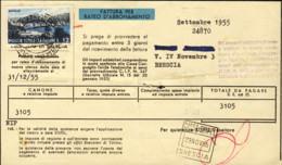 1955- Fattura Telefonica Della Stipel Affrancata L. 12 Turismo Isolato - 6. 1946-.. Republic