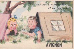 CPA 84 AVIGNON A SYSTEME  SOUS LA TENTE  ENFANTS - Avignon