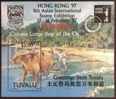 Tuvalu 1997 Year Of The Ox Minisheet MNH - Farm