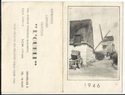 """Calendrier De Poche 1946 - Publicité Librairie """"L'Oubli"""" à Bruxelles - Avec Illustration Moulin à Vent MOULBAIX (Ath) ? - Calendriers"""