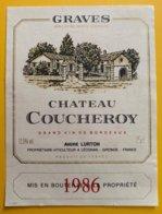 11972 - Château Coucheroy 1986 Graves - Bordeaux