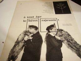 ANCIENNE PUBLICITE A TOUT AGE LE BERET  1960 - Vintage Clothes & Linen