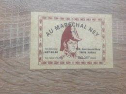 Ancienne Carte De Visite De Bar Brasserie    Au Marechal Ney    Paris 18 Eme - Cartes De Visite