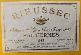 11982 - Château Rieussec 1981 Sauternes - Bordeaux