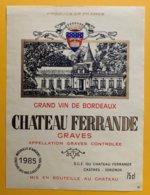 11983 - Château Ferrande 1985 Graves - Bordeaux