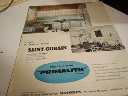 ANCIENNE PUBLICITE BRIQUE DE VERRE  SAINT GOBAIN 1960 - Unclassified