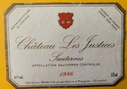 11986 - Château Les Justices 1986 Sauternes - Bordeaux
