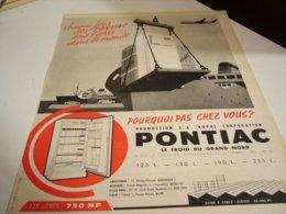 ANCIENNE PUBLICITE DANS LE MONDE FRIGO PONTIAC 1960 - Unclassified