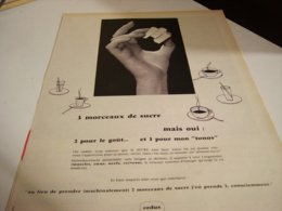 ANCIENNE  PUBLICITE 3 MORCEAUX DE SUCRE  1960 - Posters