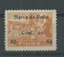 MARCA DA BOLLO/REVENUE  - FIUME - CENT.10 SU 52 SU COR.1 - Fiume & Kupa