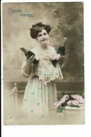 CPA-Carte Postale-France - Bonne Année Une Dame Tenant 2 Bouteilles De Champagne En 1912 VM7916 - Nieuwjaar