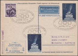 Autriche 1956. Entier Postal Timbré Sur Commande. Jeux Olympiques De Melbourne, Vol Spécial Via Pôle Nord. Flamme - Sommer 1956: Melbourne