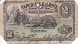 BILLETE DE CHILE DE 2 PESOS DEL AÑO 1916 (BANK NOTE) MUY RARO - Chili
