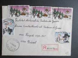 2187 - Bevrijding - 3 X + 2191 - Schrijver Ernest Claes - Samen Op Aangetekende Brief Uit Waimes - Covers & Documents