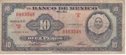 BILLETE DE MEXICO DE 10 PESOS DEL AÑO 1961   (BANKNOTE) - Messico