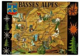 7422, Circuit Touristique Des Basses Alpes - Contour Géographique Illustré, Rose Des Vents, Blason - Pas Circulé - Landkaarten