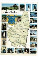 J. 13 - Département De L'Ardèche, Contour Géographique Illustré & Multivues, 20 Vues, Blason - Pas Circulé - Landkaarten