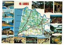 40 - Landes - Contour Géographique (Carte Michelin 989) Multivues, 15 Vues - Circulé 1974 - Landkaarten
