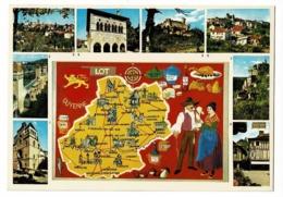 46/500 - Le Lot - Contour Géographique Illustré Françoise Dague, Mulitivues, 8 Vues - Pas Circulé - Landkaarten