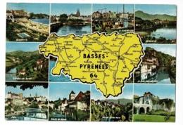 1690 - Basses-Pyrénées, Contour Géographique Dessiné, Multivues, 10 Vues - Circulé 1968 - Landkaarten