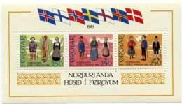 """1983-(MNH=**) Faeroer Foglietto S.3v.""""inaugurazione Della Casa Del Nord,costumi Dei Popoli Nordici"""" - Islas Faeroes"""