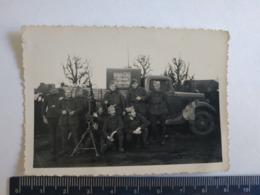 Photo Militaire 1939 1940 DCA Unité Du 11eme Train Véhicule Camion Mitrailleuse Mai Juin Motorisée - Guerre, Militaire